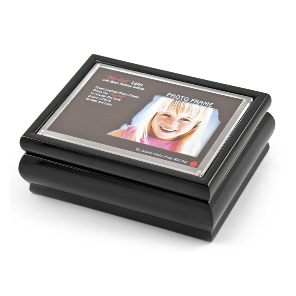 4 x 6 Black Lacquer Photo Frame Music Box with New Pop-Out lens System