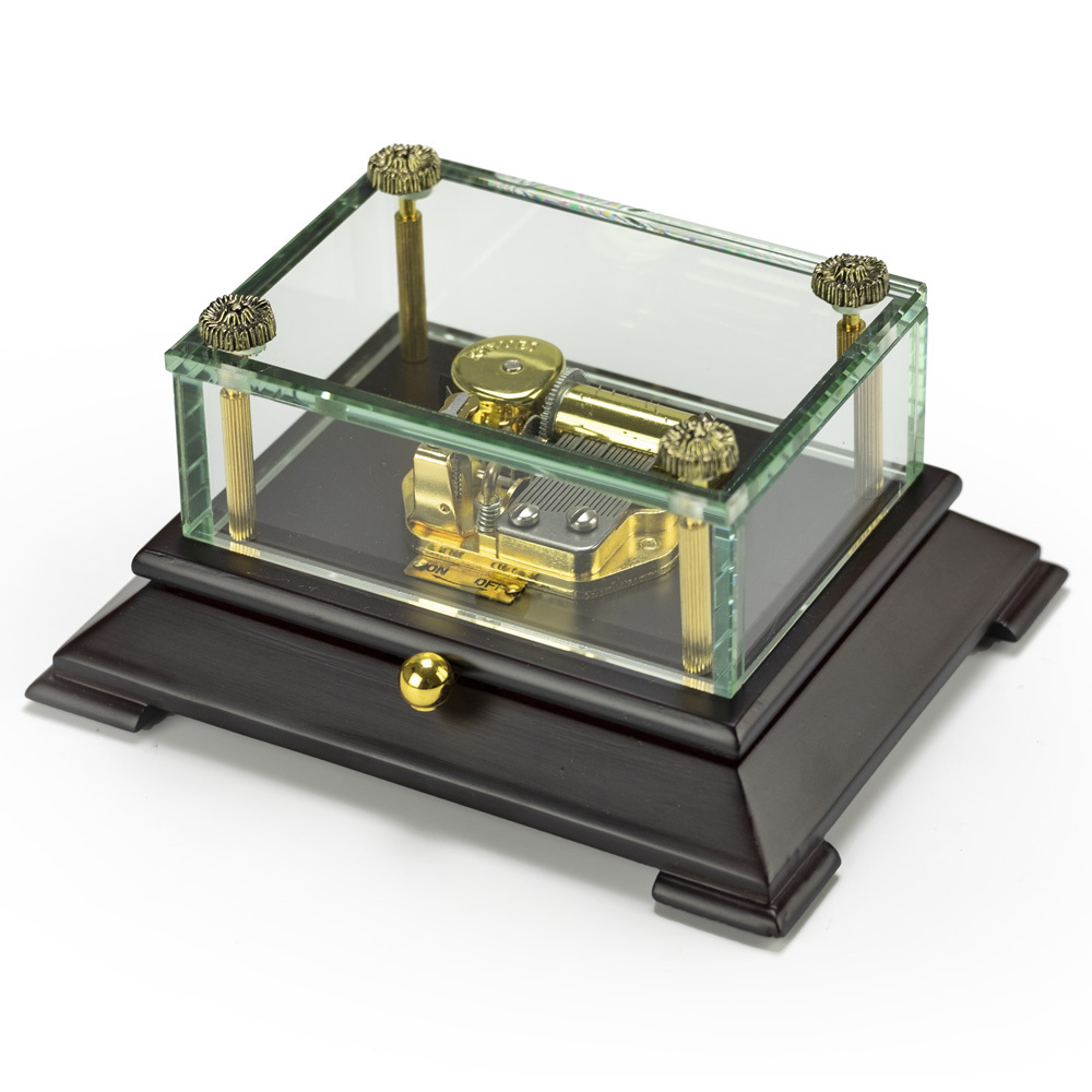 Exclusive Crystal Music Box w Contemporary Wooden Base OVERSTOCK PRICE