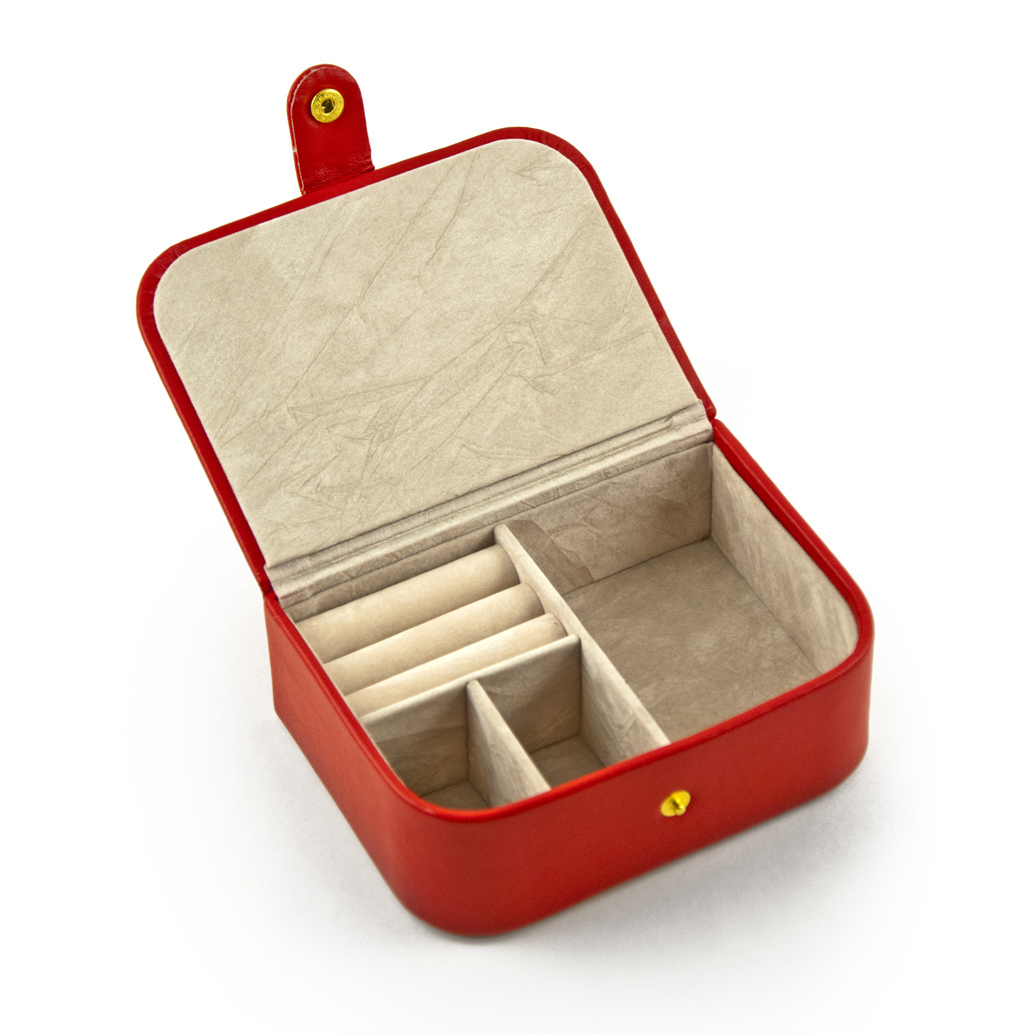 Convenient Red Snap On Button Flip Top Jewelry Box