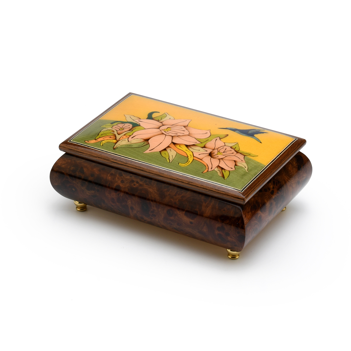 Handcrafted 18 Note Tropical Theme Inlay Music Box with Hummingbird and Floral Design