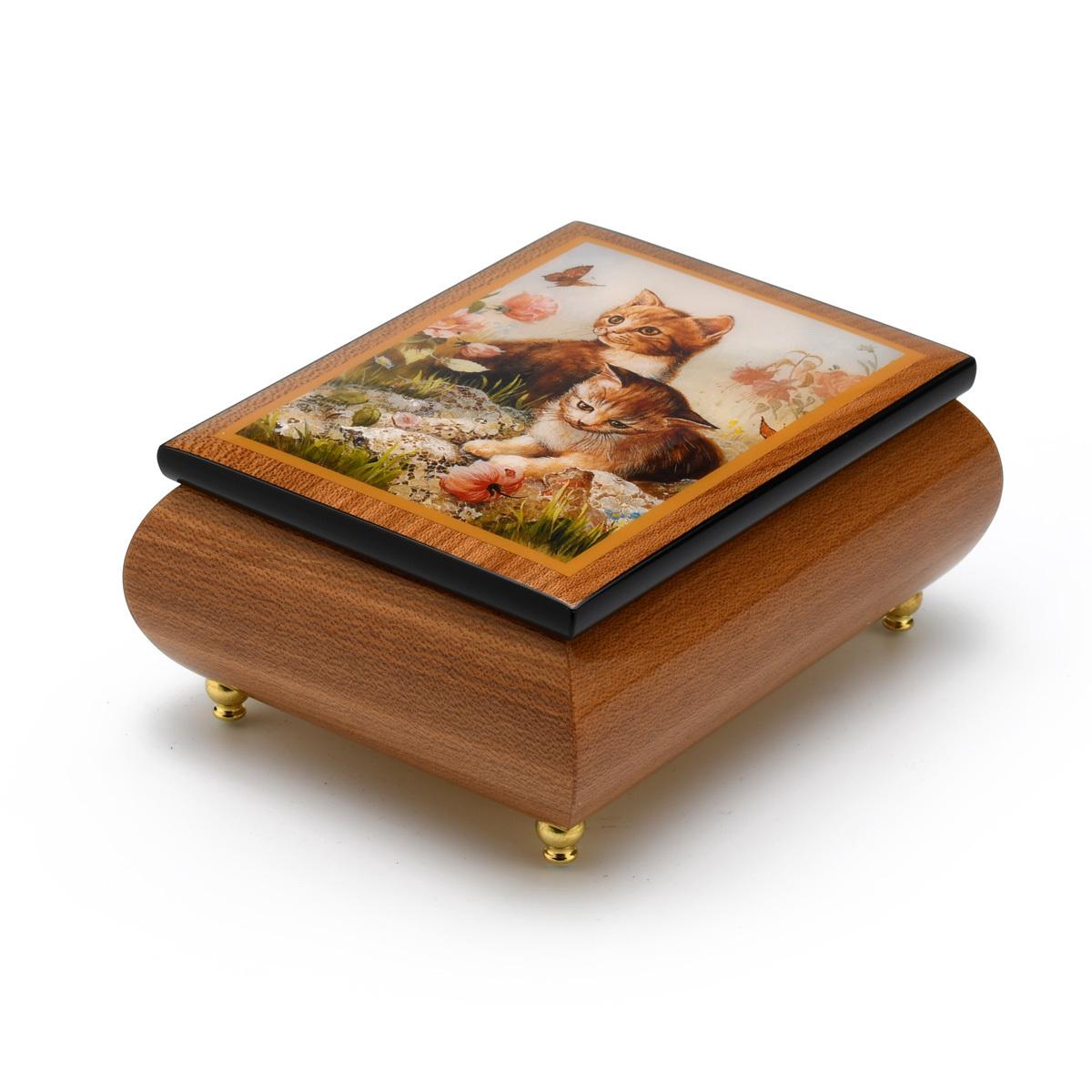 Playful Natural Wood Tone Ercolano Music Jewelry Box - Kitten Frolic by Brenda Burke