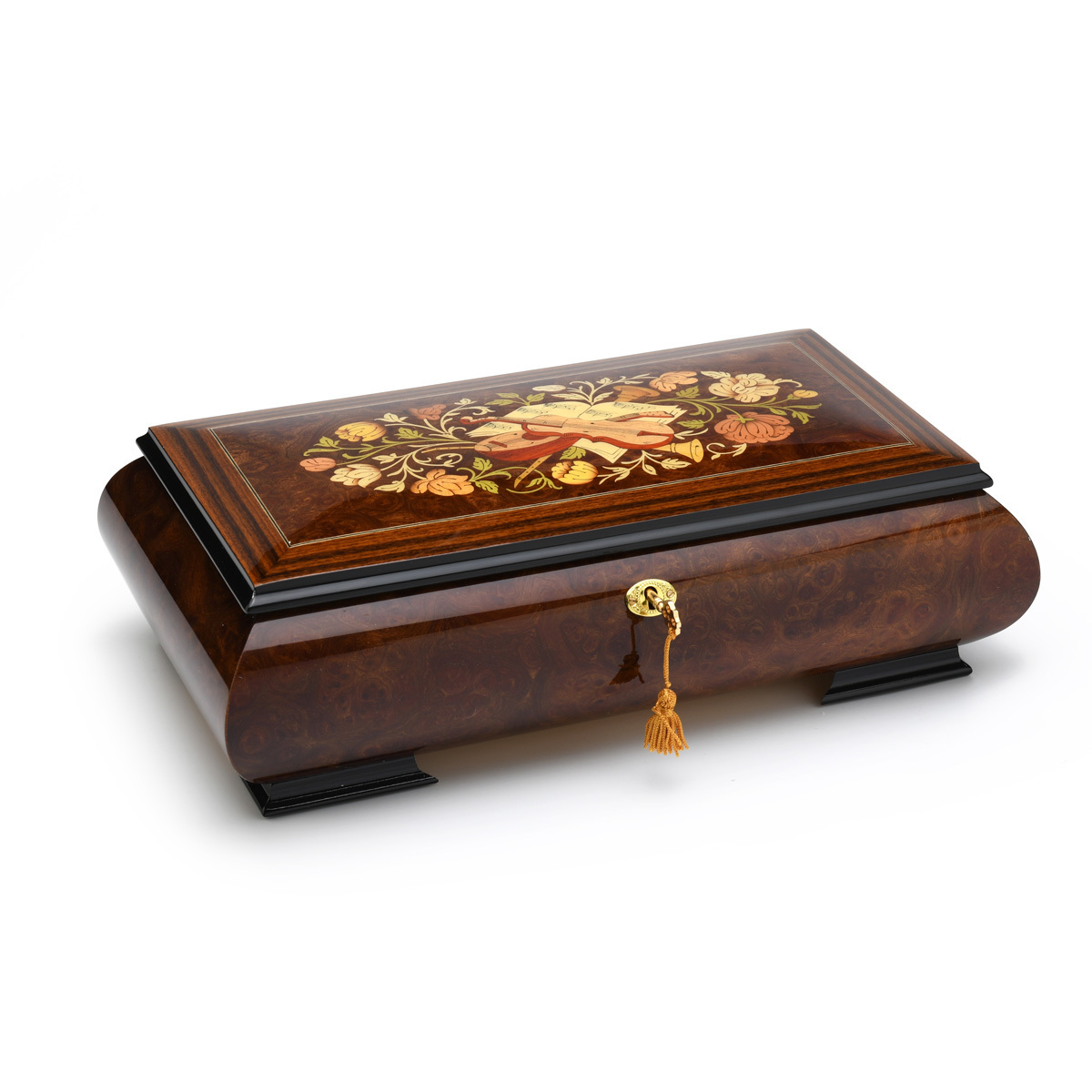 Luxurious 36 Note Grand Musical Instrument and Floral Music Jewelry Box with Lift Up Tray