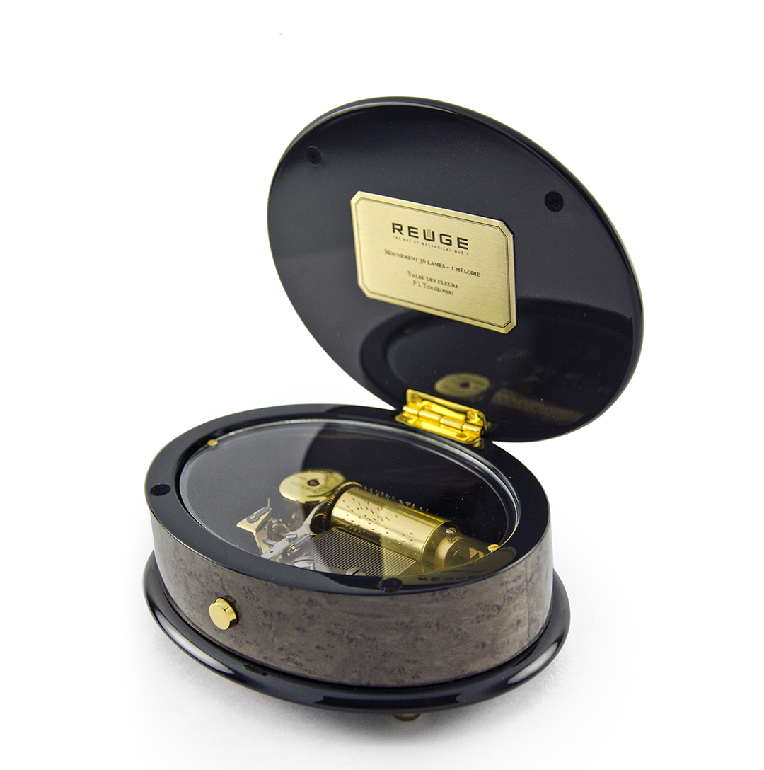 Elegant 36 Note Red Gold Theme Inlay Reuge Music Box Safran