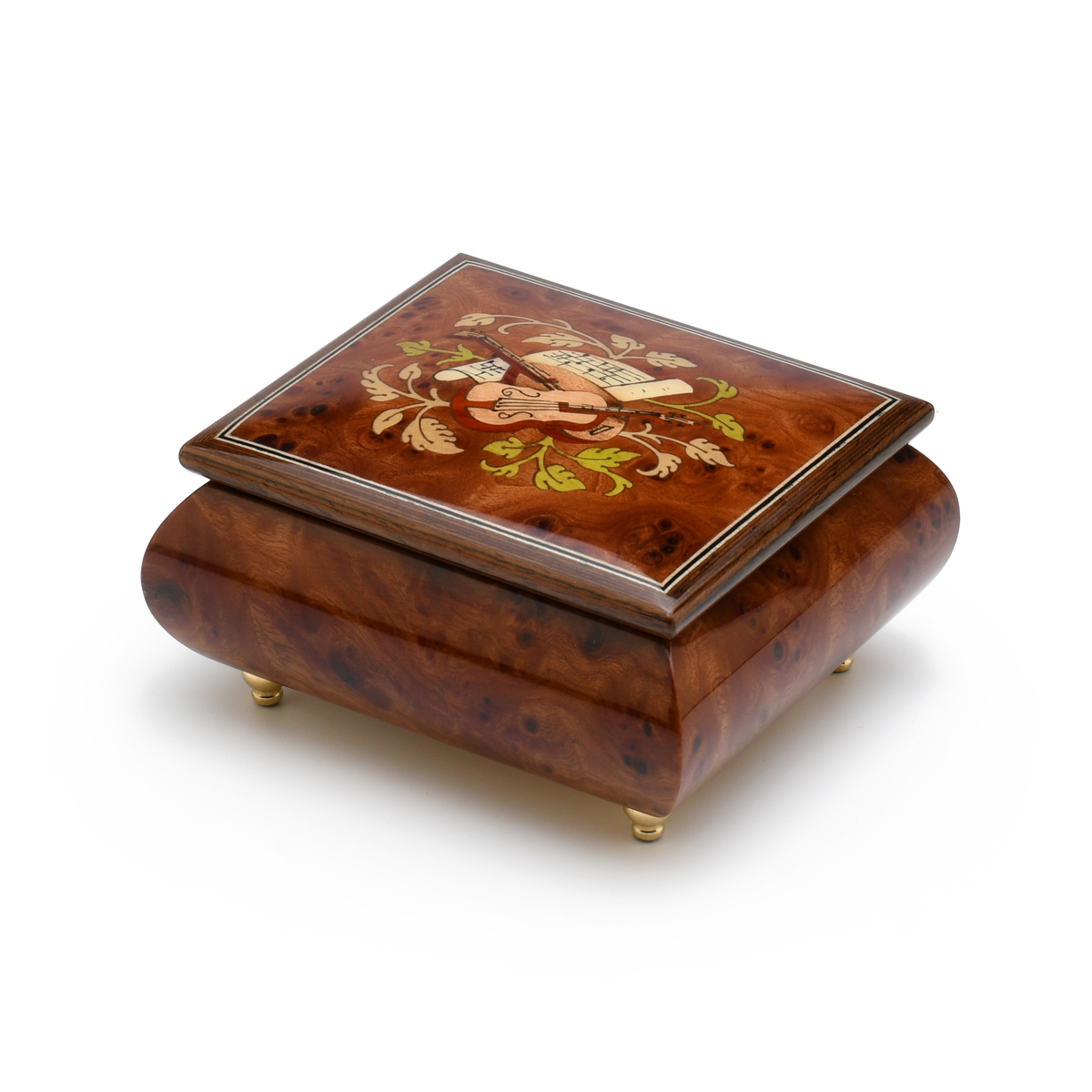 Exquisite Handcrafted Musical Instrument with Sheet Music Wood Inlay Music Box