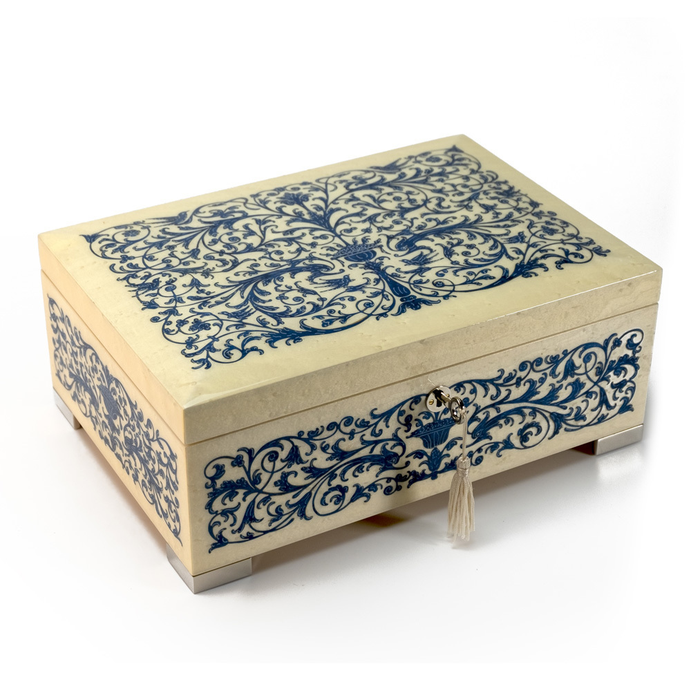 Grand Arabesque Inlay Double Level Blue and Ivory Italian 36 Note Music Box