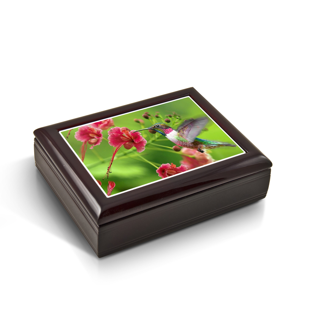 Frozen In Time; Hummingbird Tile Musical Jewelry Box