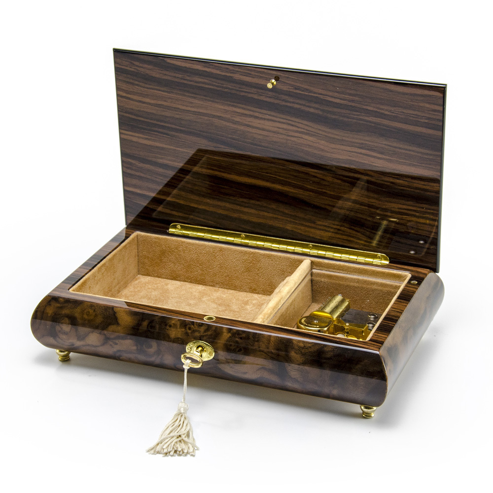 Romantic 36 Note Walnut Tone Double Red Rose and Heart Musical Jewelry Box