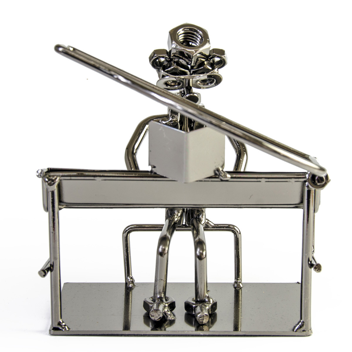 Handcrafted metal musician with piano figurine