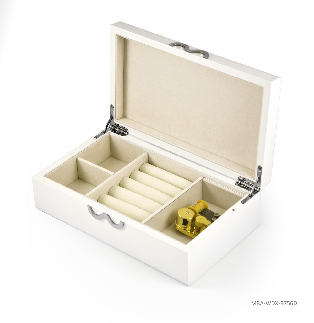 Contemporary 18 Note Matte White Infinity Musical Jewelry Box
