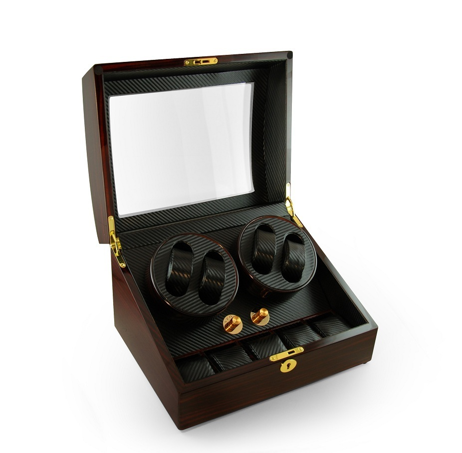 Luxurious 4 6 Dual Rotor Watch Winder with Carbon Fiber Interior and gold accents