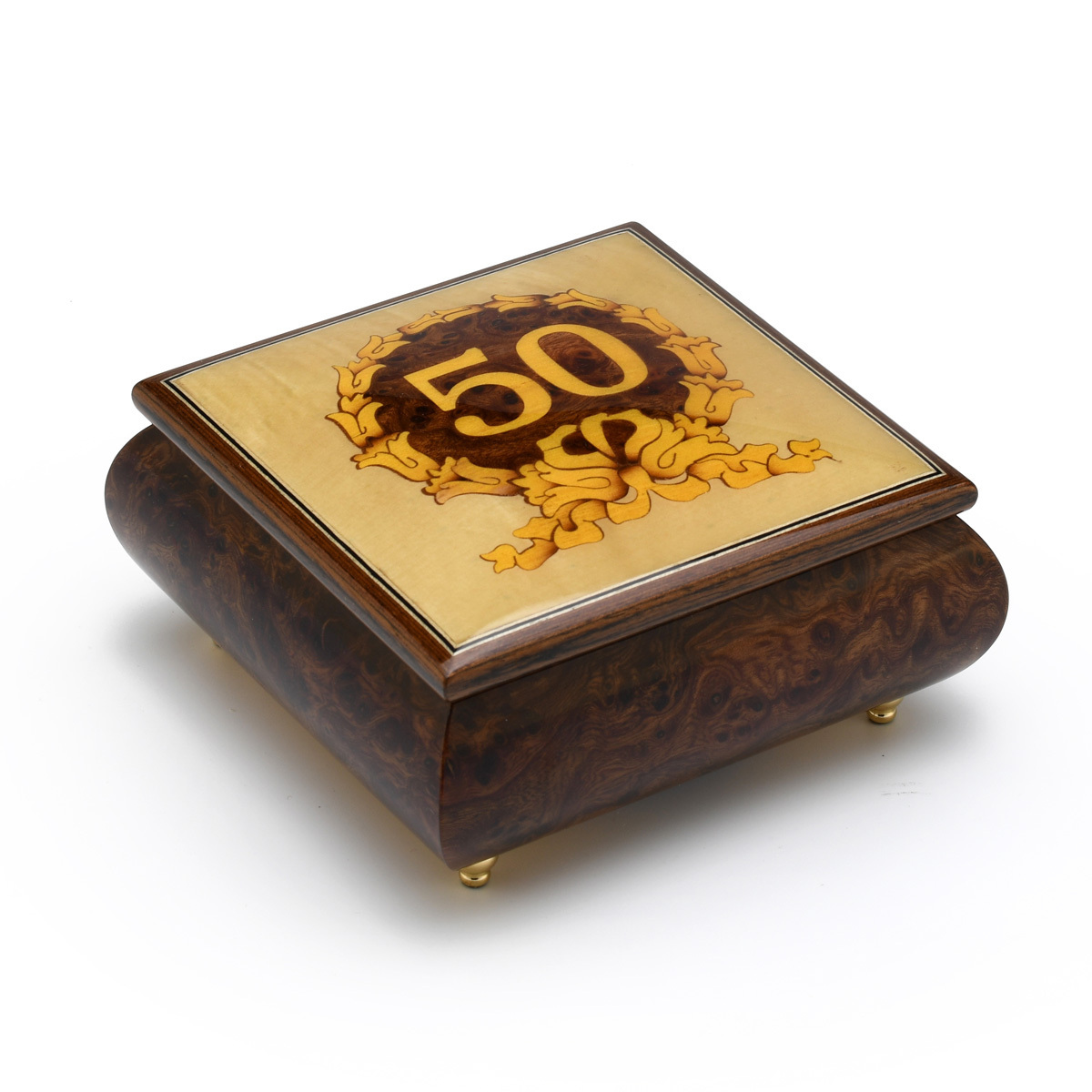Handcrafted 50th Anniversary / Birthday with Gold Ribbon 18 Note Music Jewelry Box