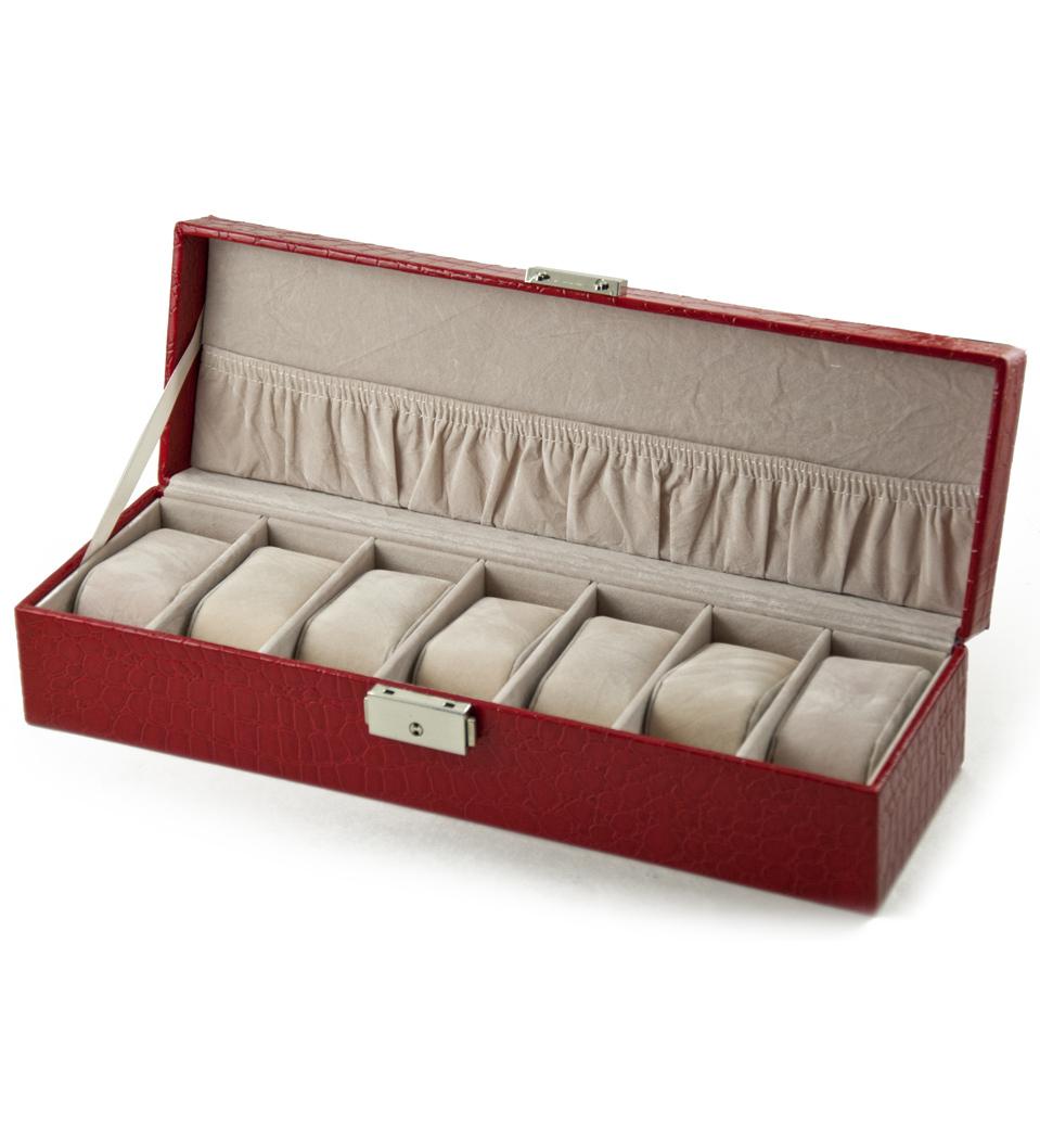 Modern Red Croc Skin Faux Leather Panel Rectangular Watch Box