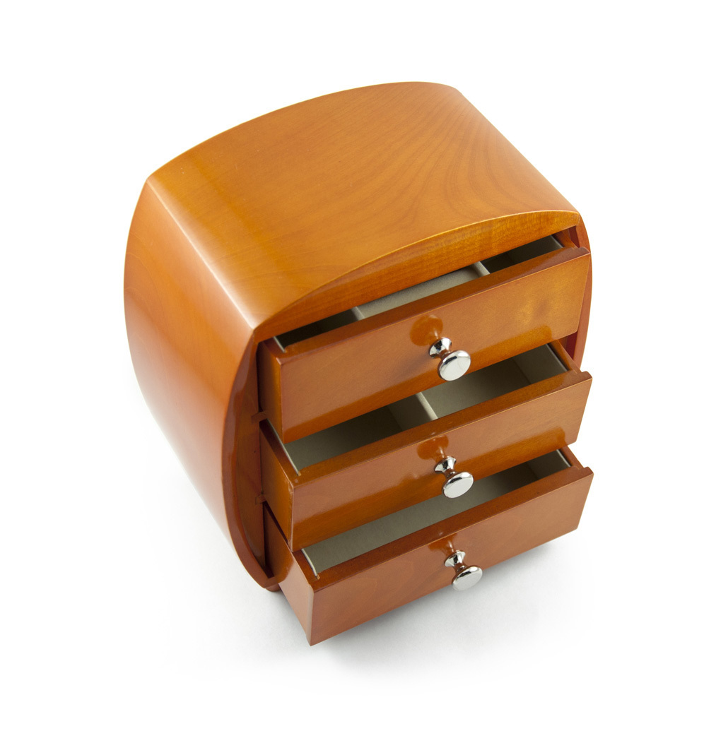Modern 3 Drawer Citrus Wood Stain Jewelry Box with Silver Hardware