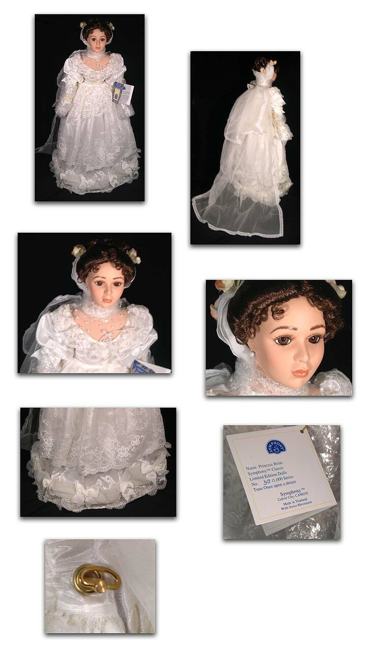 Princess Bride, Lady in Red Fine Musical Doll Bisque Porcelain with Swiss Musical Movement