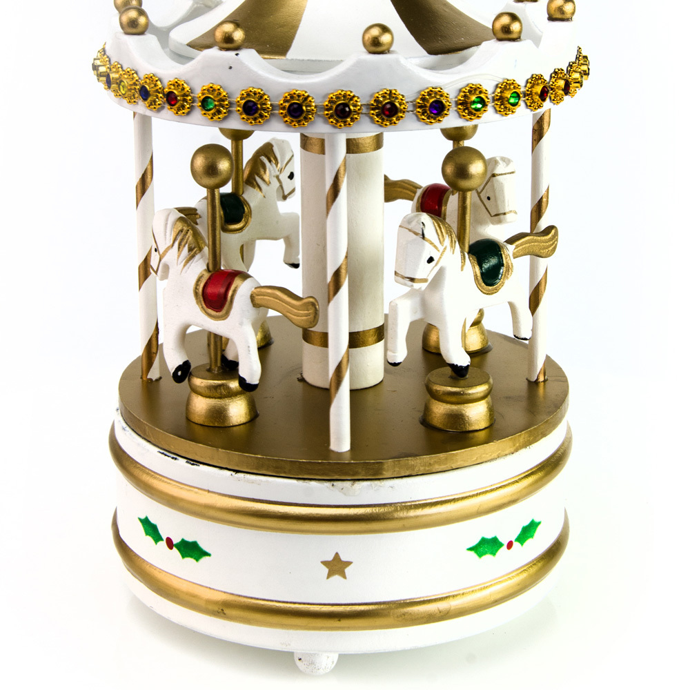 Rotating White Musical Christmas Carousel with Horses and Jeweled Canopy