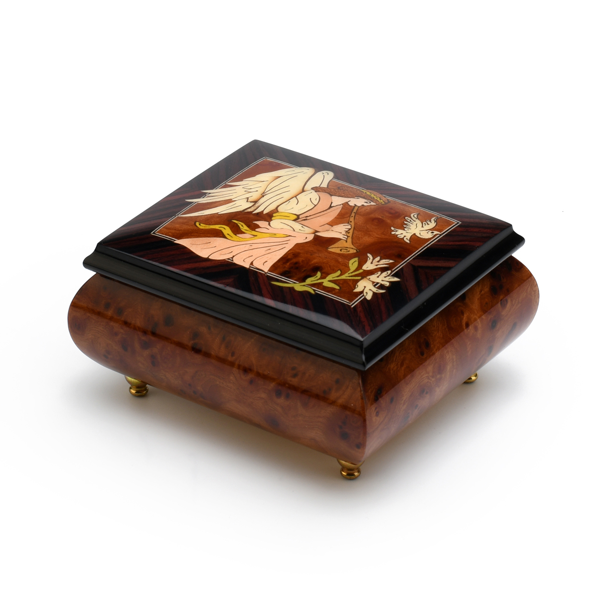The Wood Inlay Design Features An Angel Playing A Horn / Duduk