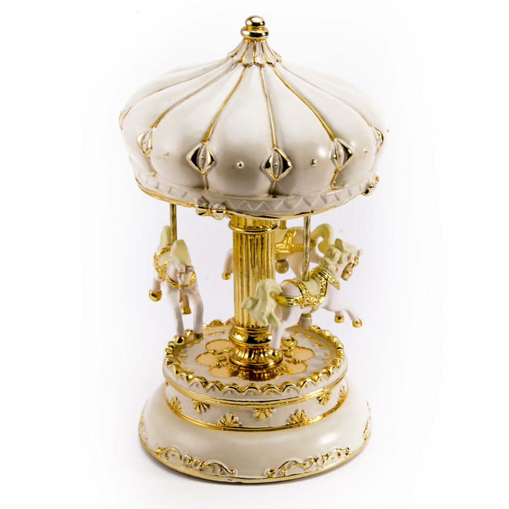 Ivory Persian Canopy with Gold Accents Animated Musical Carousel Keepsake