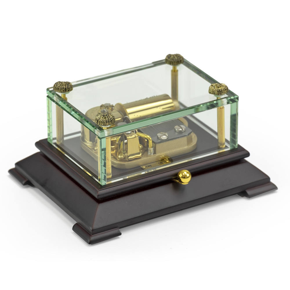 Exclusive 30 Note Crystal Music Box with Contemporary Wooden Base