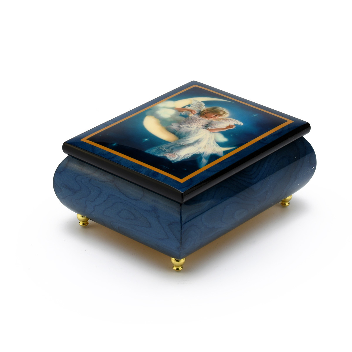 Enchanting Blue Ercolano Painted Music Box Titled Moonbeam by Brenda Burke