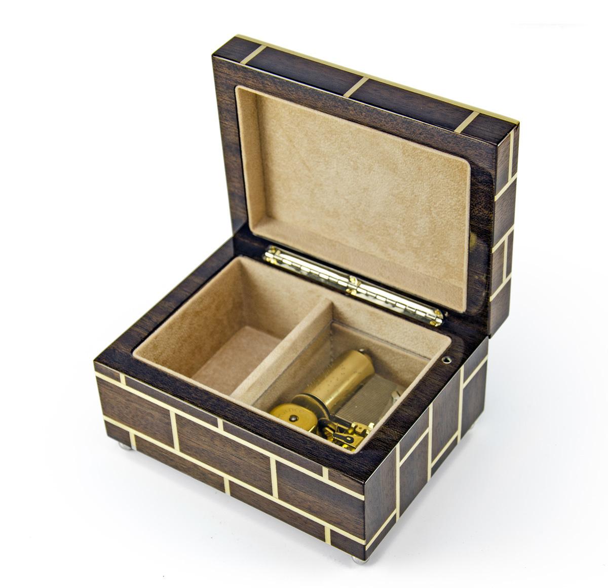 Modern Masonry Design Hand Made Sorrento Italian 18 Note Music Jewelry Box