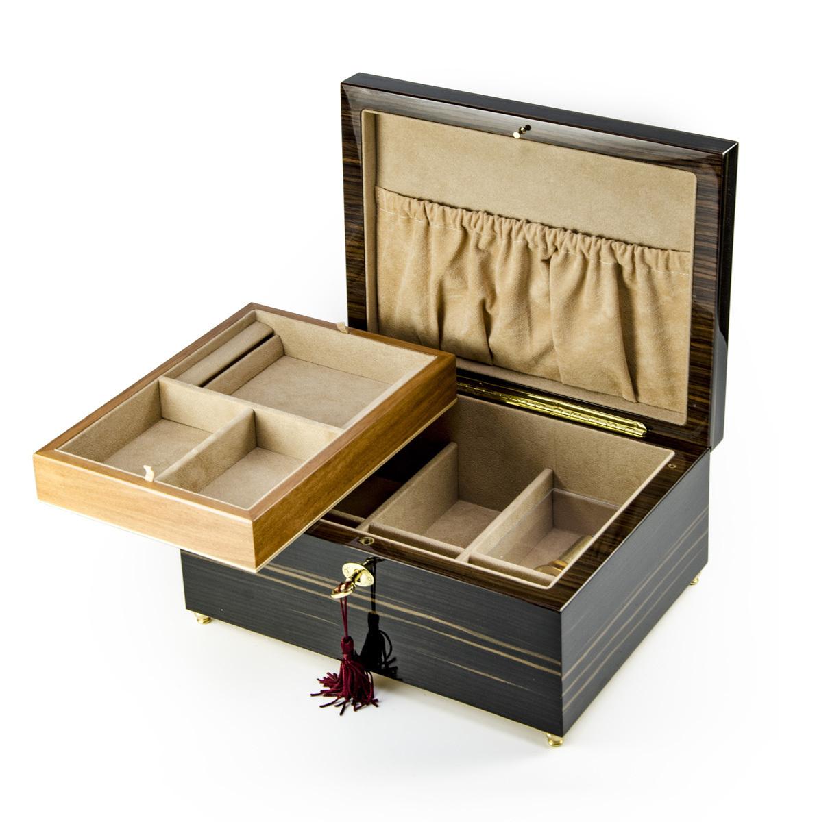 Classic Style Hi Gloss Ebony Finish Grand Double Level 18 Note Musical Jewelry Box