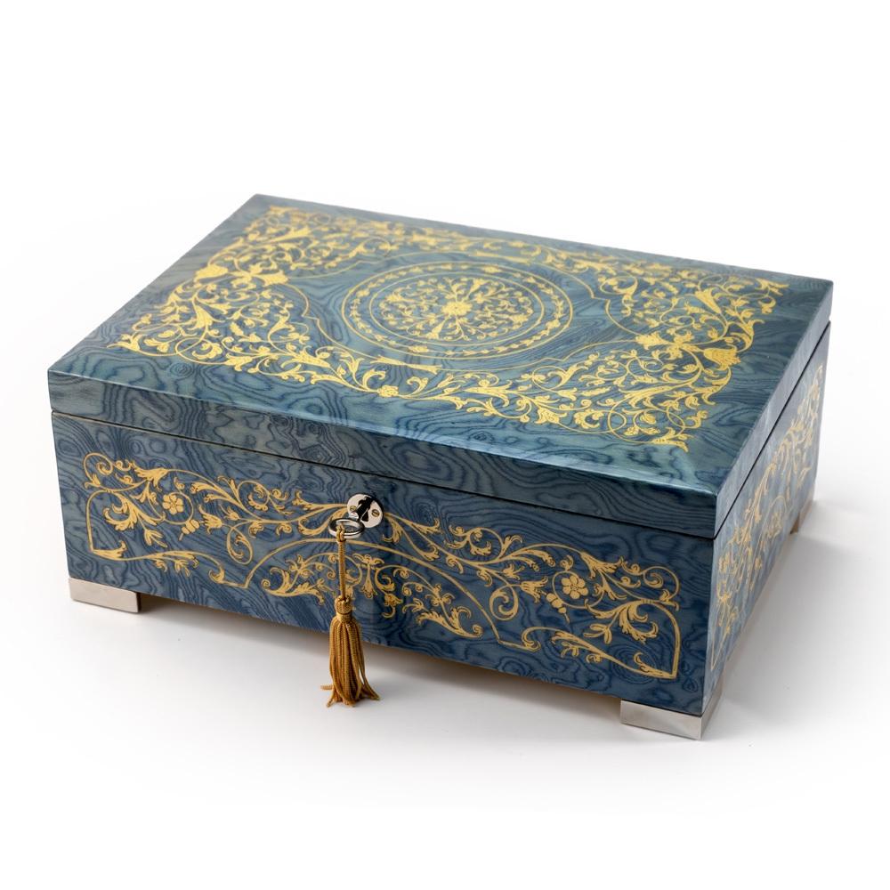 Grand Arabesque Inlay Double Level Light Blue Italian 18 Note Music Box