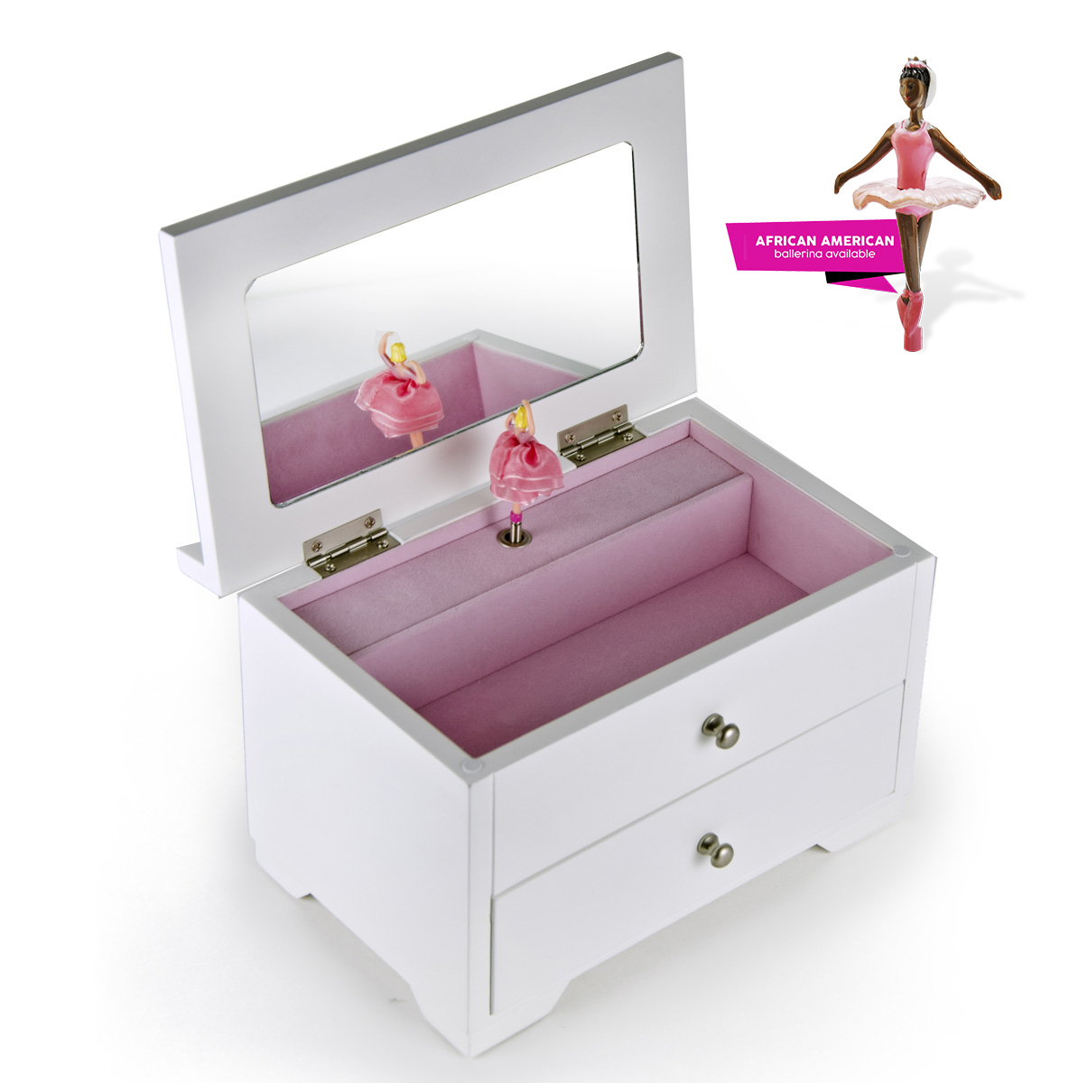 Gorgeous Matte White Carved Roses 18 Note Ballerina Musical Jewelry Box- - Easy Song Selection