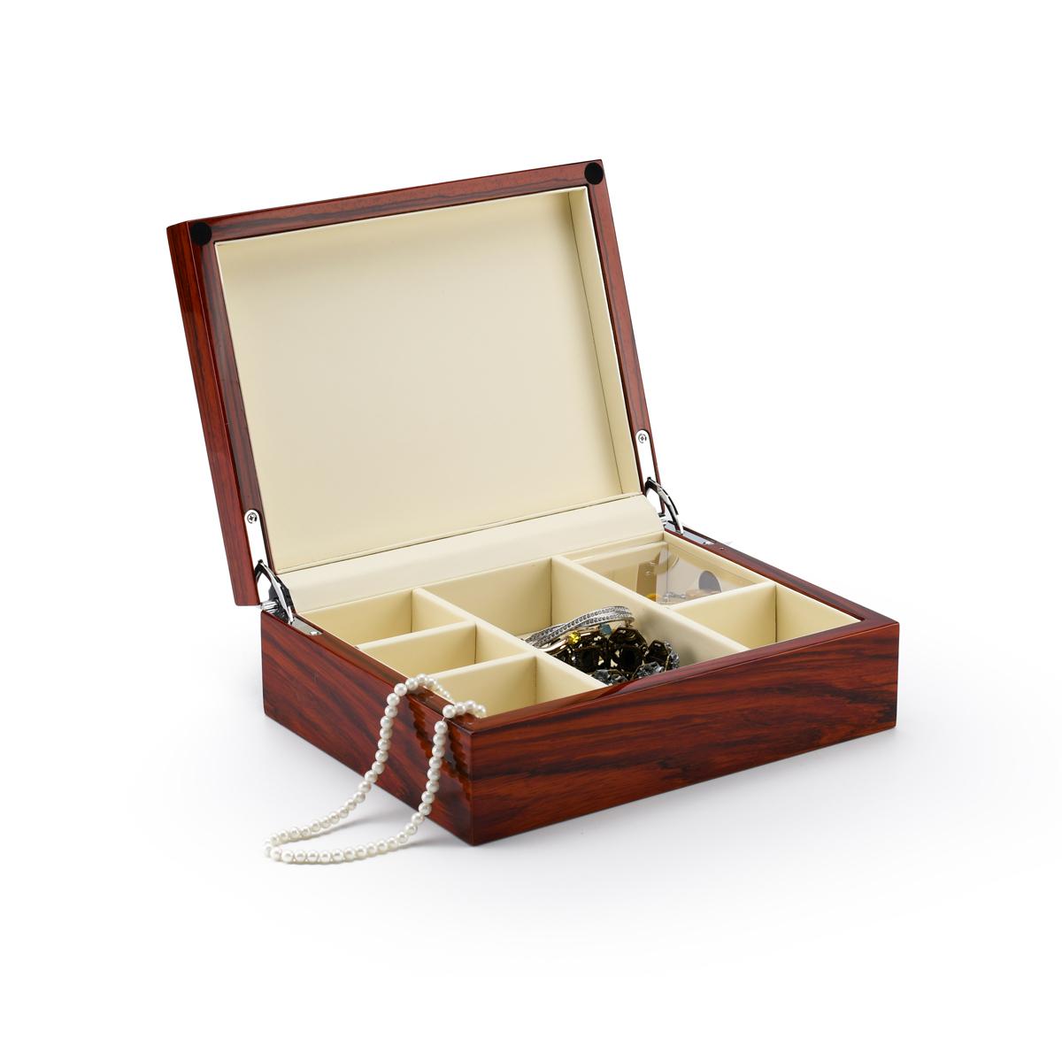 Ultra-Sleek 18 Note Hi Gloss Zebra Striped Wood Finish Jewelry Box