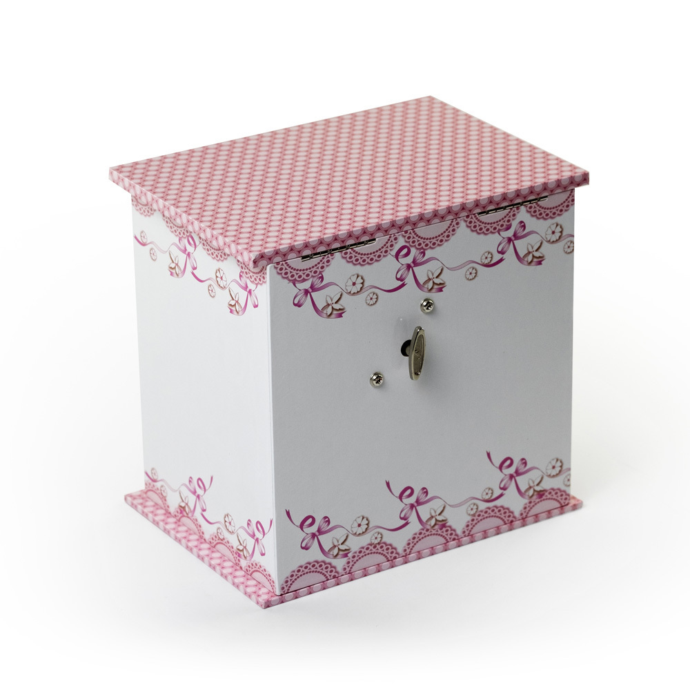 Decorative White and Pink Spinning Ballerina Musical Jewelry Box - Angel by Mele and Co