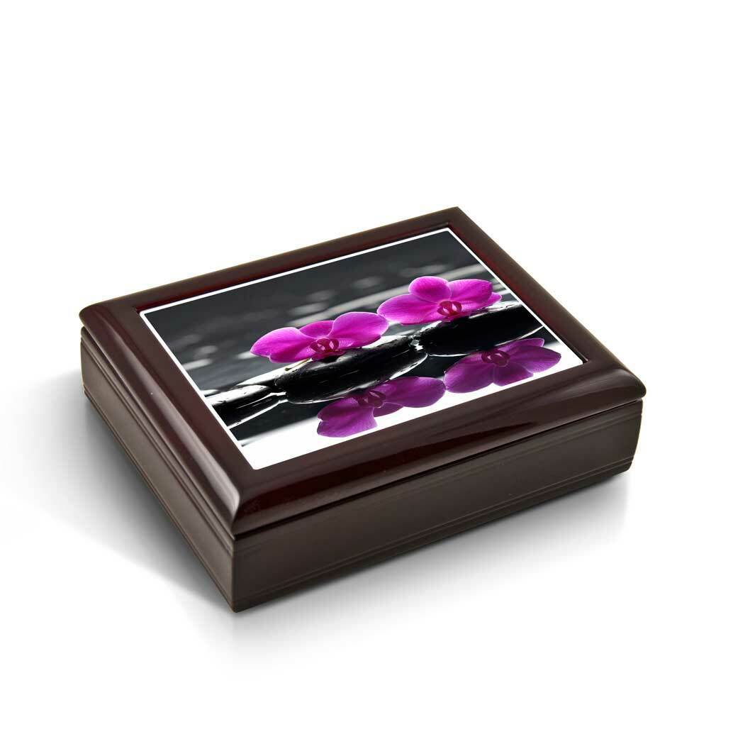 A Zen-Like Setting with Purple Orchids Tile Musical Jewelry Box