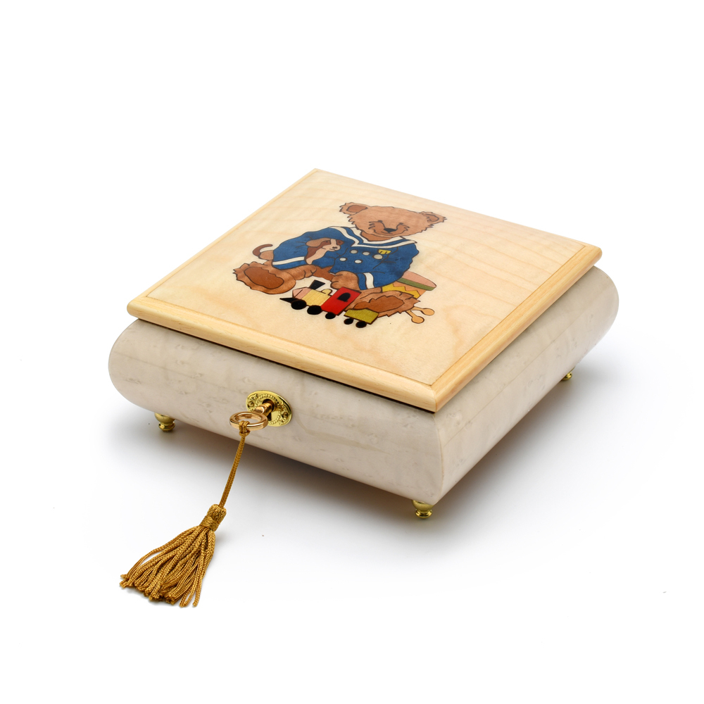 Amazing Beige and Ivory Navy Thread Bear with Toys Music Box