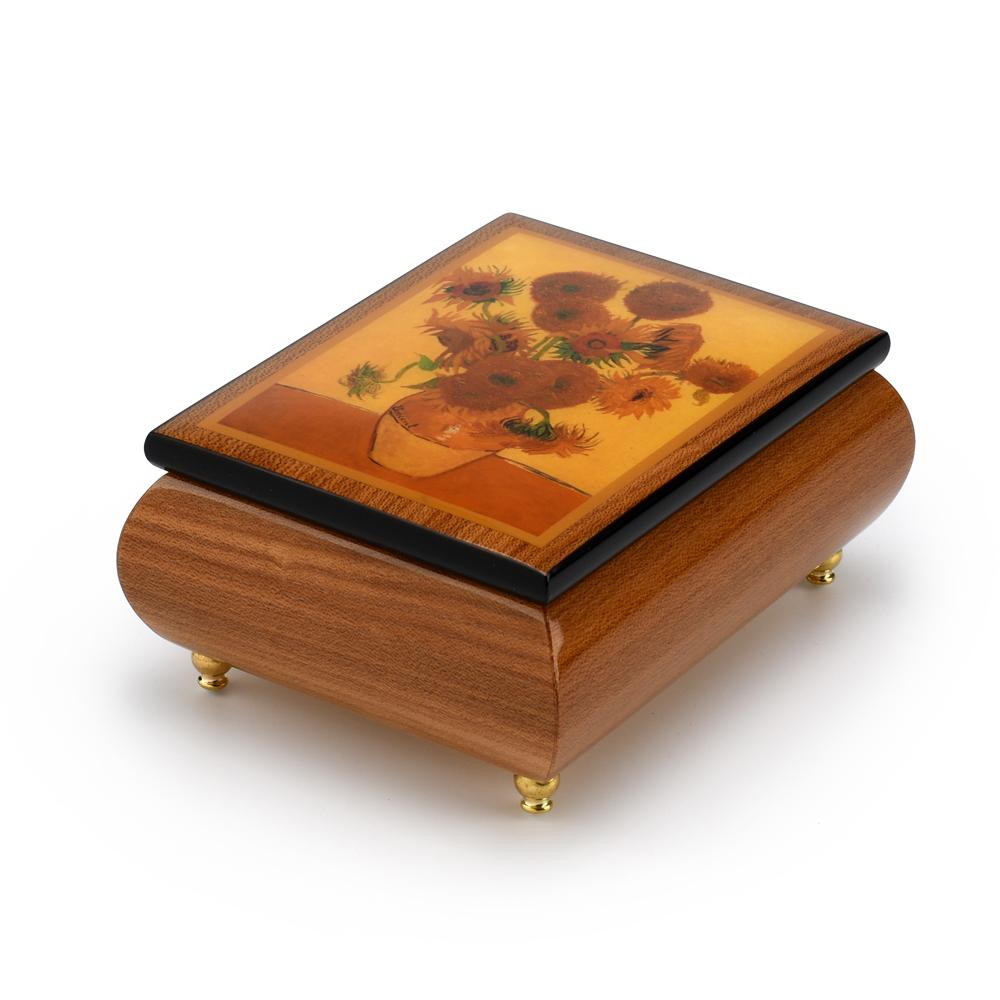 Beautiful Sunflowers Theme Inlaid Ercolano Art Musical Jewelry Box