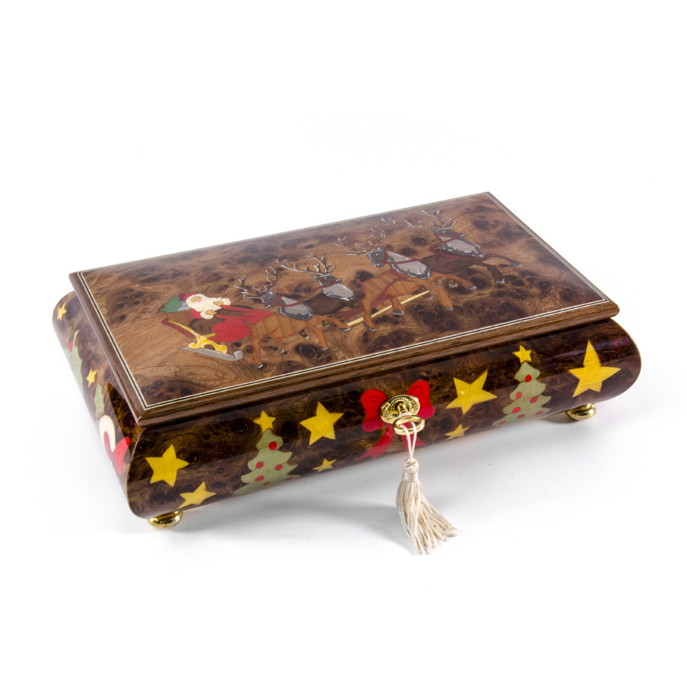 Jolly Santa Clause in Sleigh with Reindeers Wood Inlay 36 Note Christmas Musical Jewelry Box