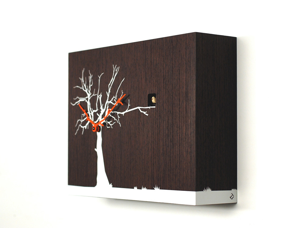Contemporary Modern Cuckoo Clock with Wood Tone Wall with White Tree - by Progetti