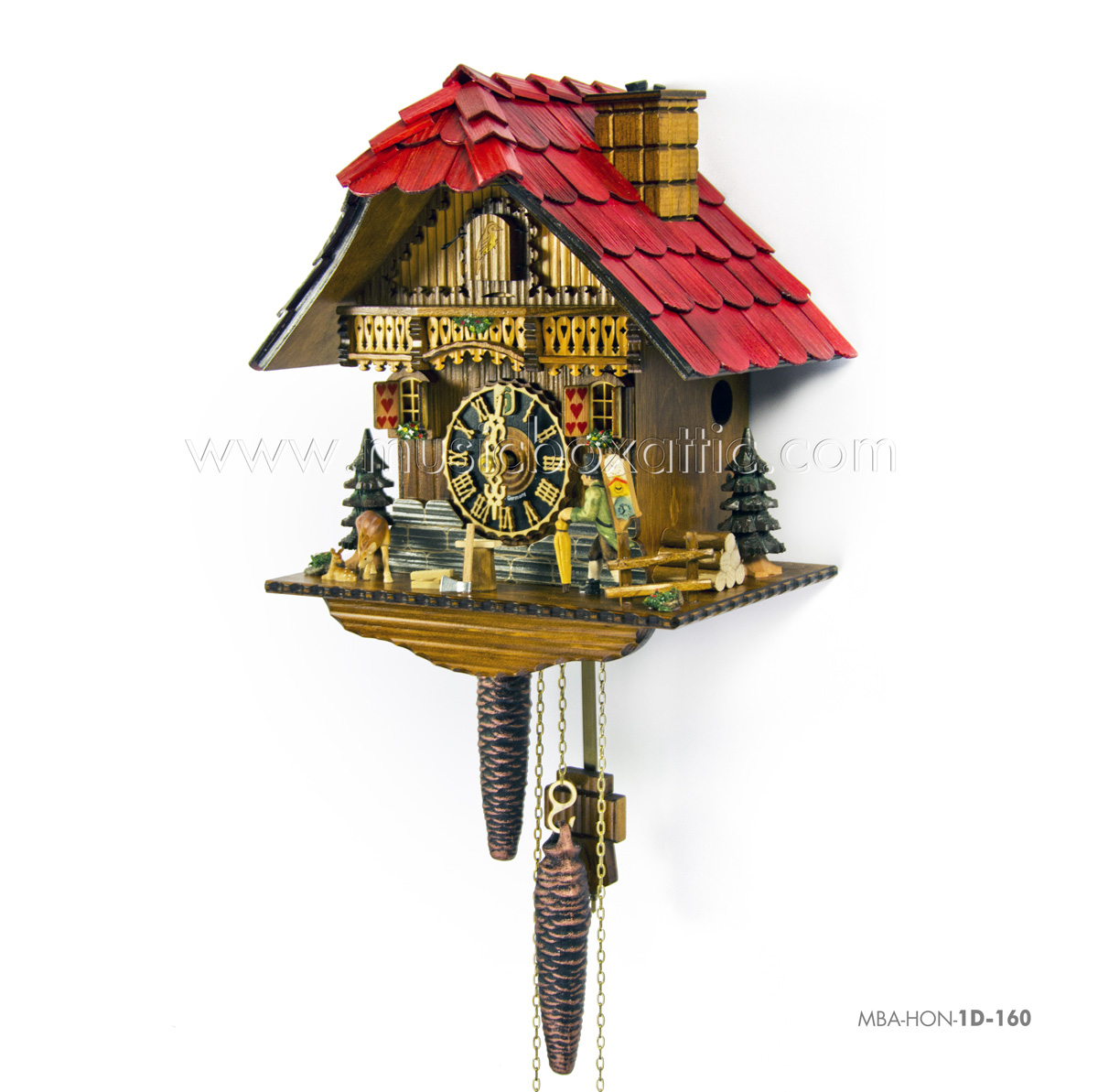1 Day Black Forest Chalet Cuckoo Clock with Clock Peddler By Hones