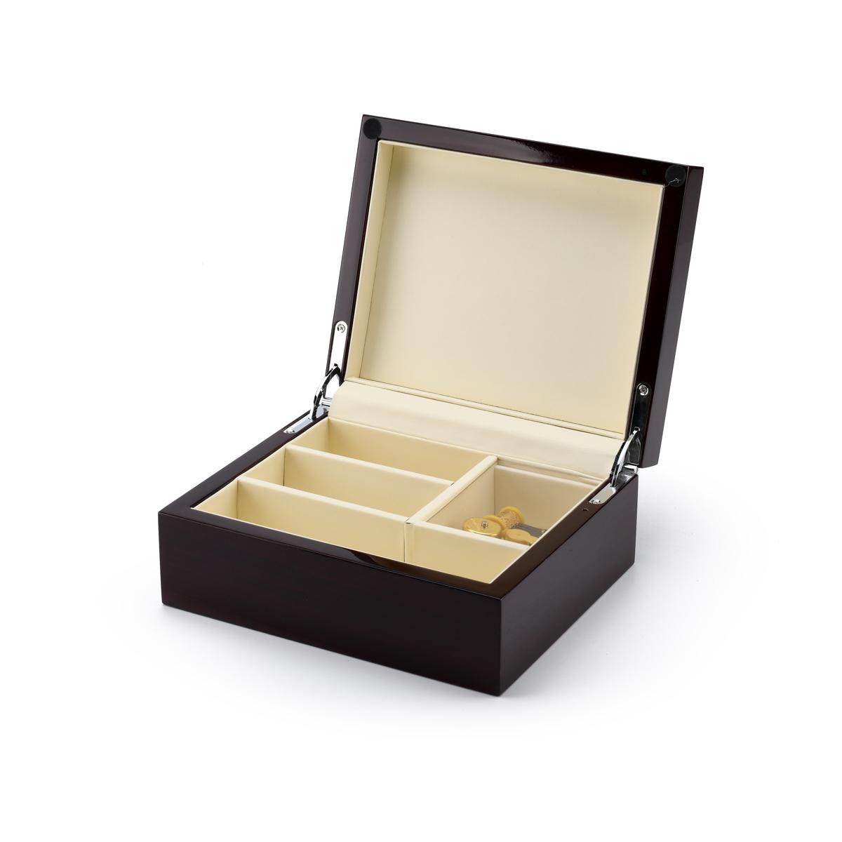 Contemporary 18 Note Hi Gloss Walnut Finish 5 LCD Video Jewelry Box