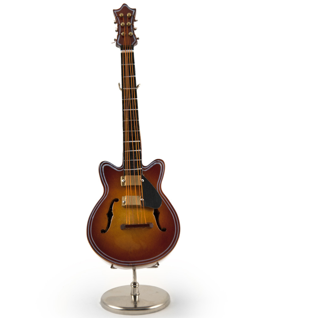 A Classic Miniature Replica of F-Hole Archtop Guitar with Stand and Case