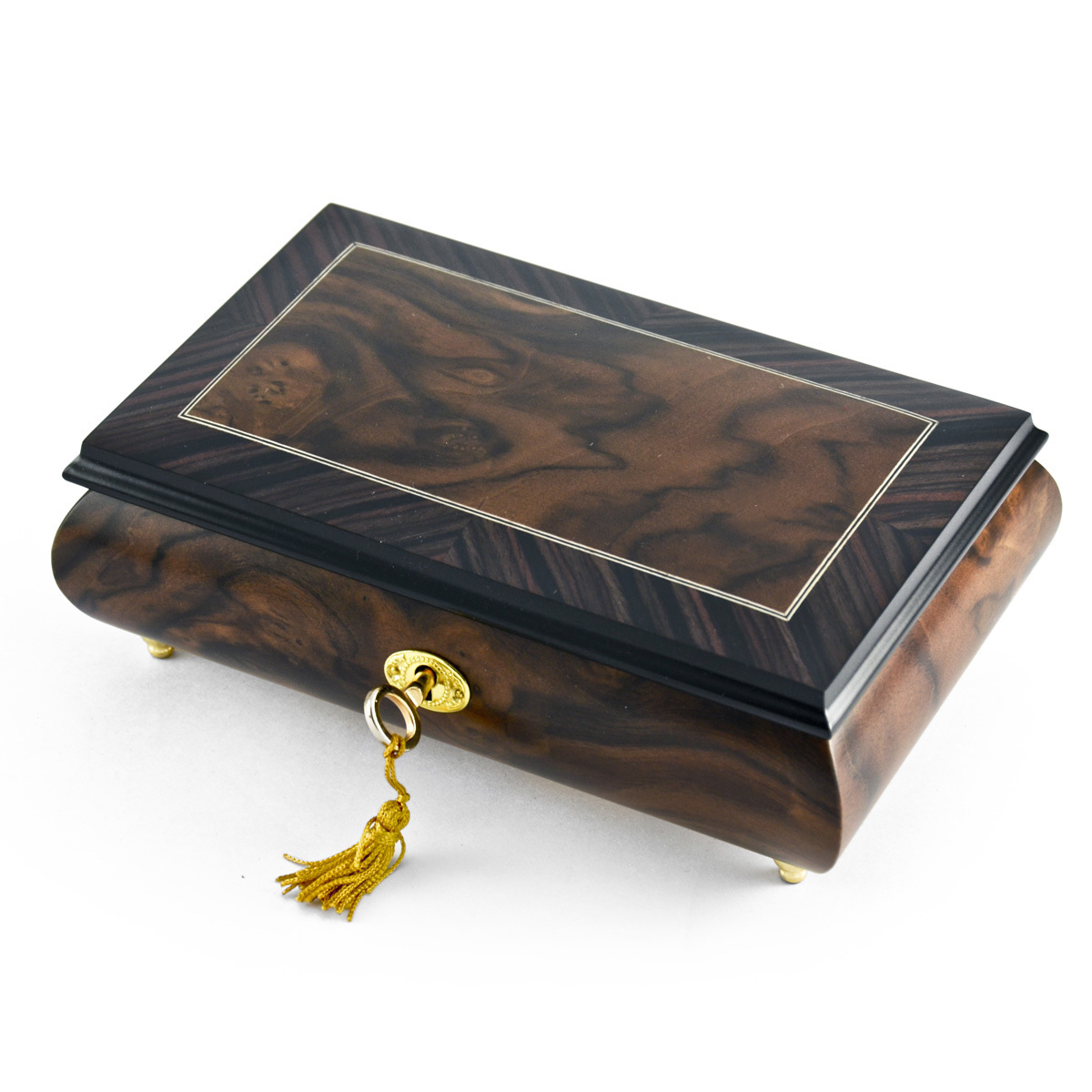 Modern 36 Note 2 Toned Classic Matte Style Burl Elm with Rosewood Border Music Box