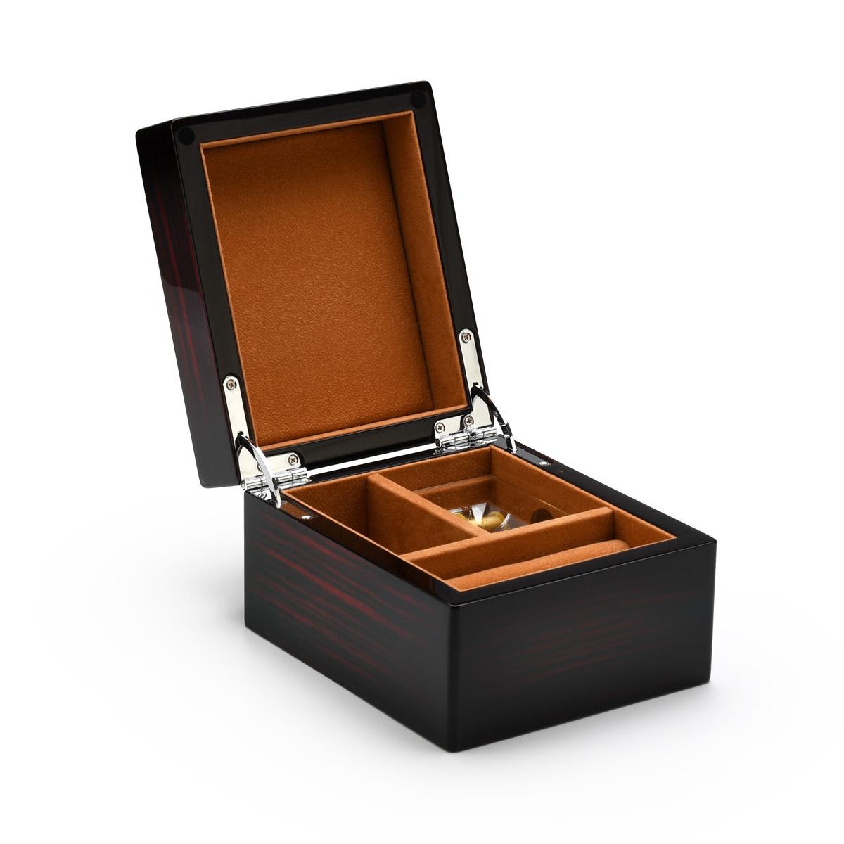 Modern Hi Gloss Macassar Finish 36 Note Music Jewelry Box