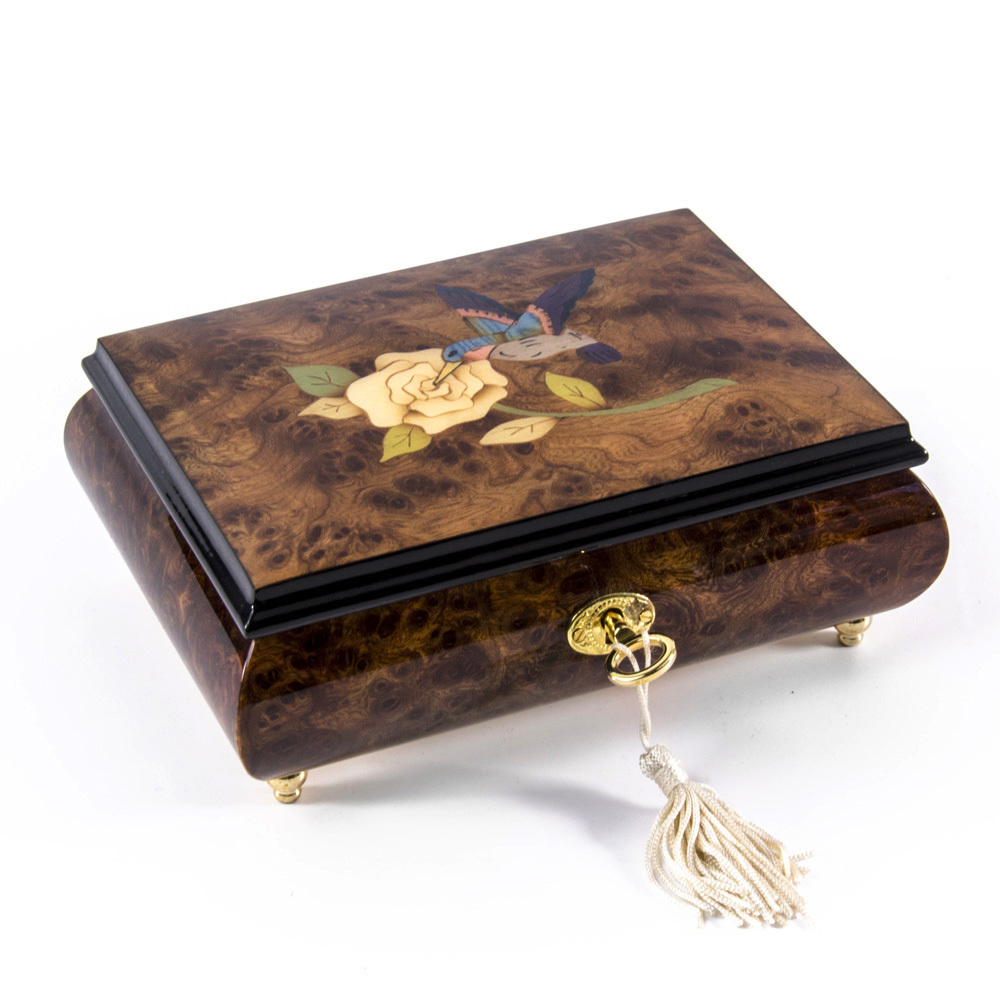 Gorgeous Hummingbird and White Rose Wood Inlay 36 Note Musical Jewelry Box