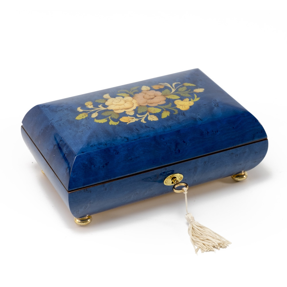 Handcrafted Dark Blue Stain Floral Inlay Italian 18 Note Music Box