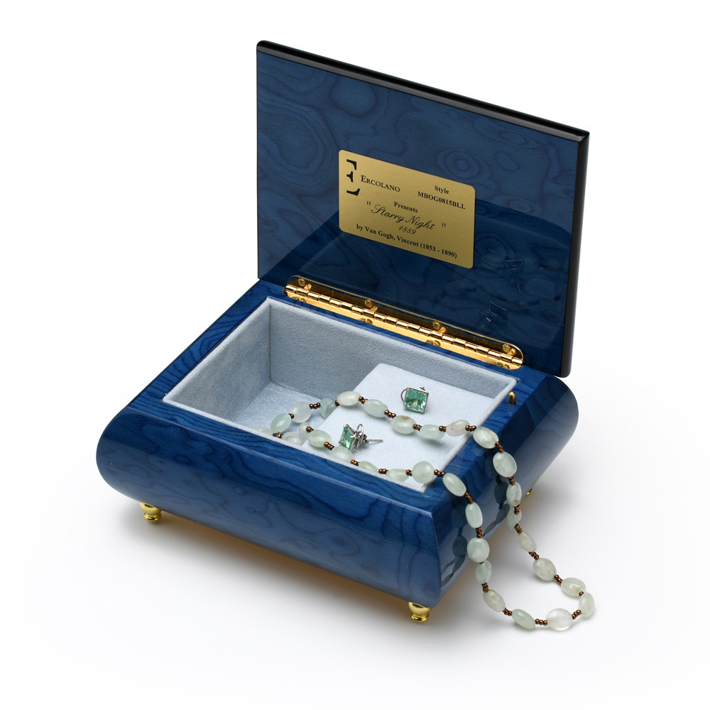 Handcrafted Ercolano Music Box - Painting of Starry Night by Vincent Van Gogh