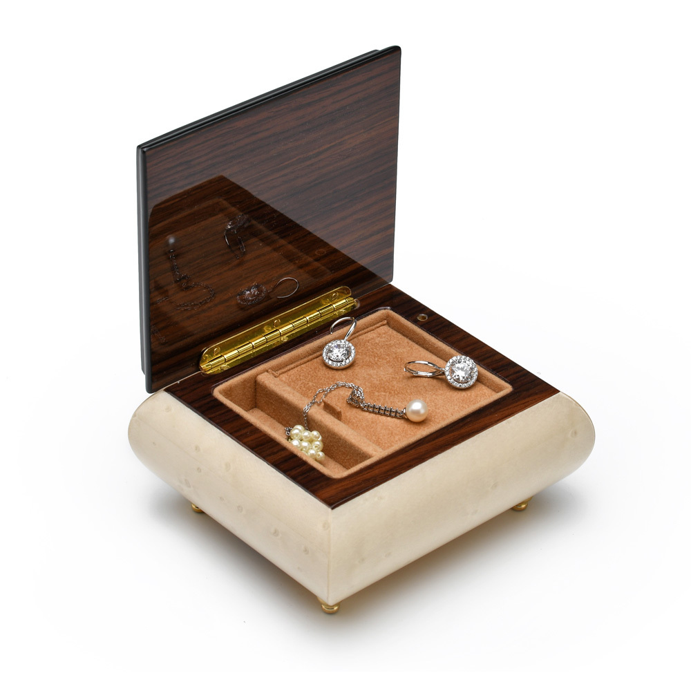 Handcrafted 18 Note Ivory Music Box with Flowers and Ribbon Inlay