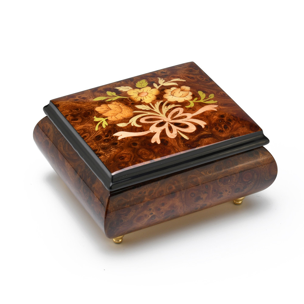 Natural Burl Elm Italian Music Box with Flowers and Ribbon Inlay