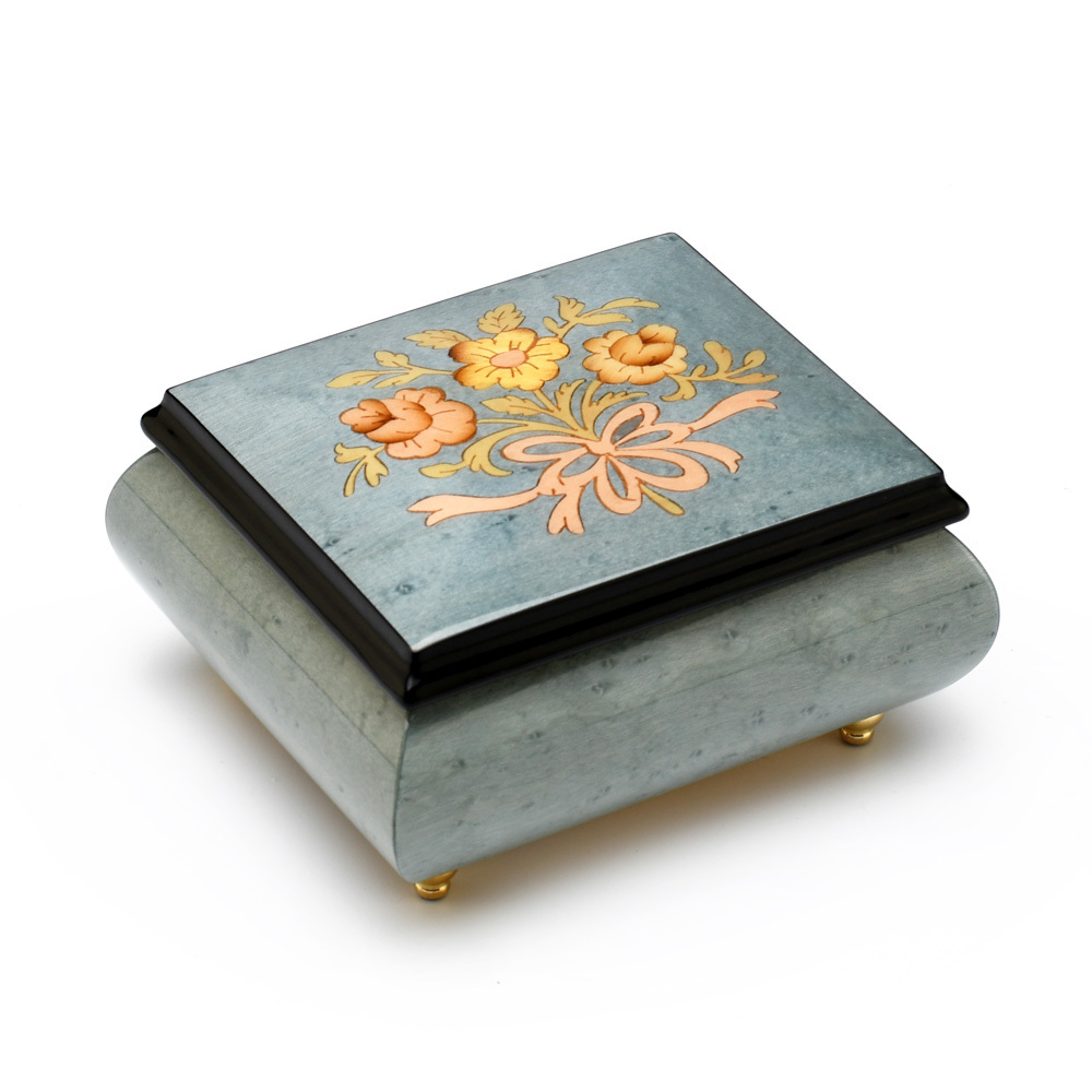 Gorgeous 18 Note Light Blue Stain Music Box with Flowers and Ribbon Inlay