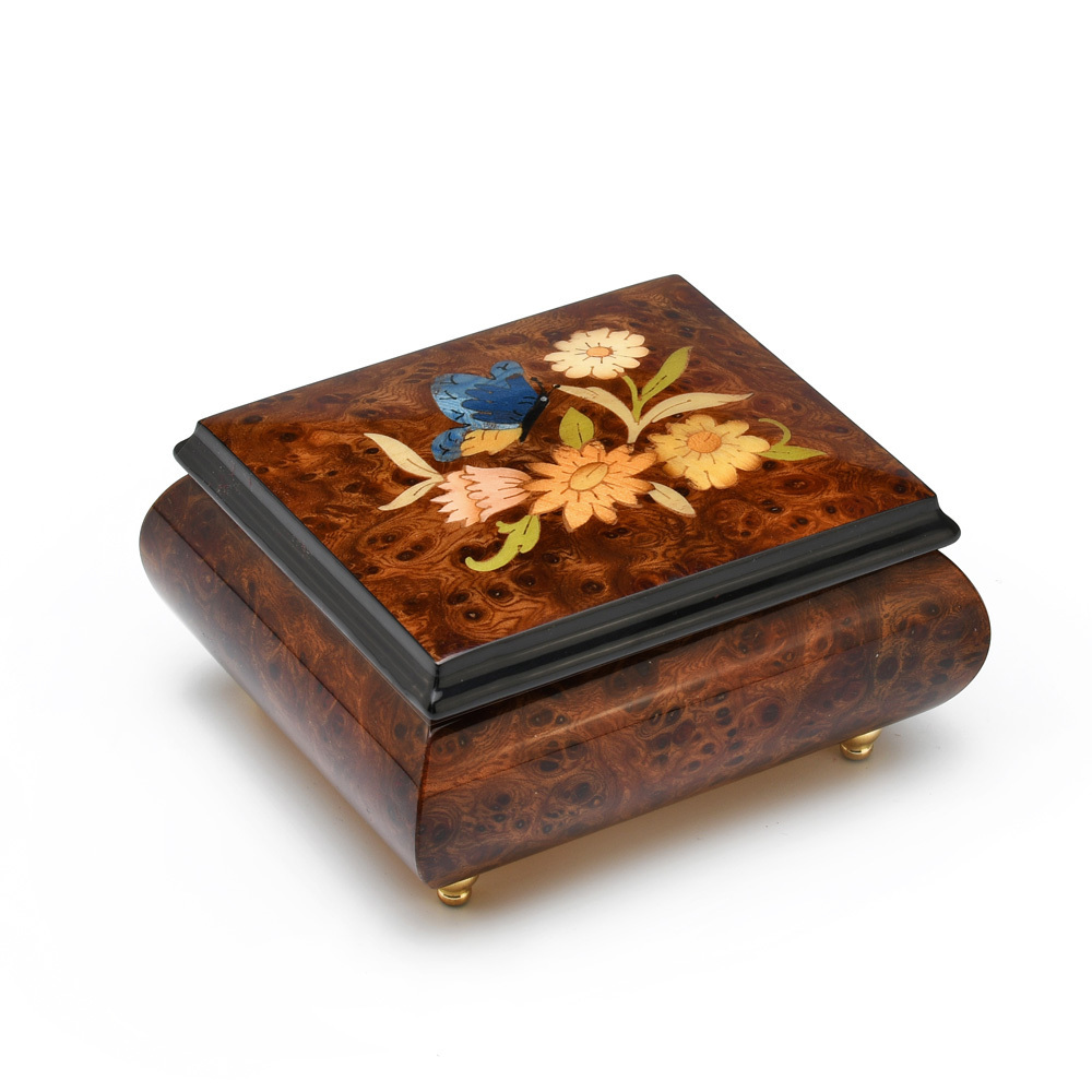 Adorable 18 Note Wood Stain Music Box with Butterfly and Flower Inlay