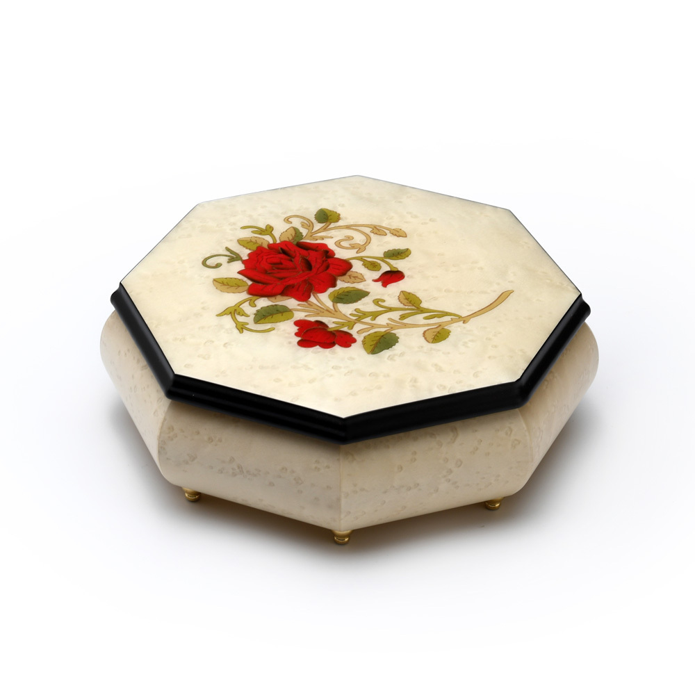 Octagonal Ivory Stain 18 Note Musical Jewelry Box with Single Red Rose Inlay