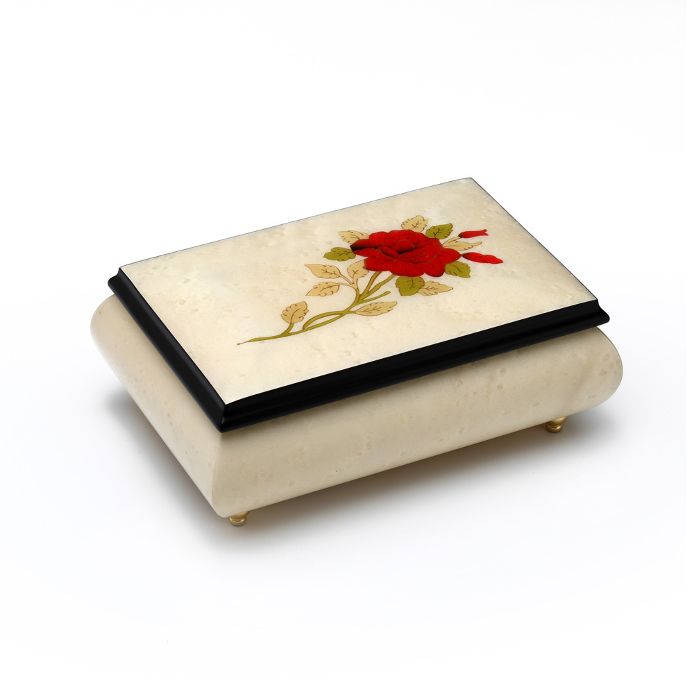Handcrafted Ivory Stain 18 Note Musical Jewelry Box with Single Red Rose Inlay