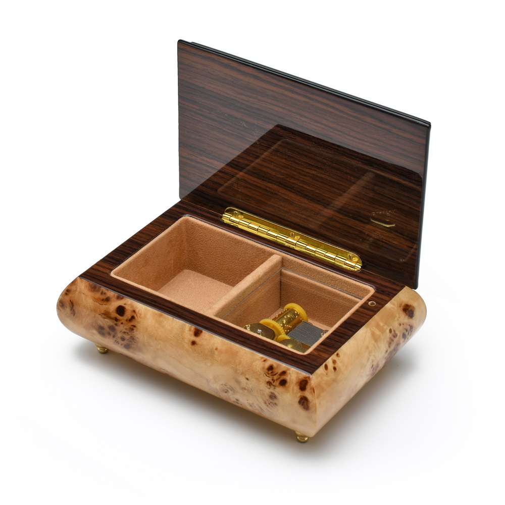 Handcrafted Birds Eye Maple Musical Theme Inlay 18 Note Music Jewelry Box