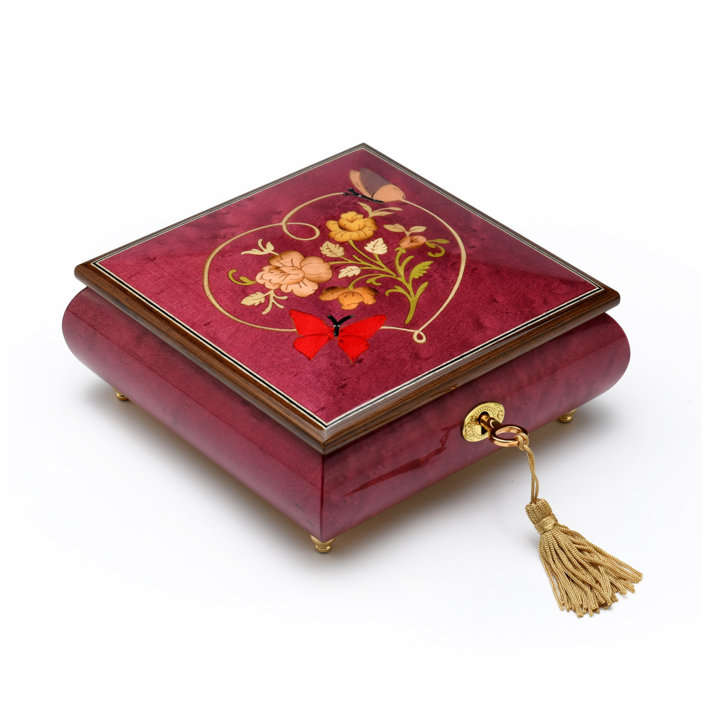 Red Wine Butterfly with Heart Outline Inlay 18 Note Musical Jewelry Box